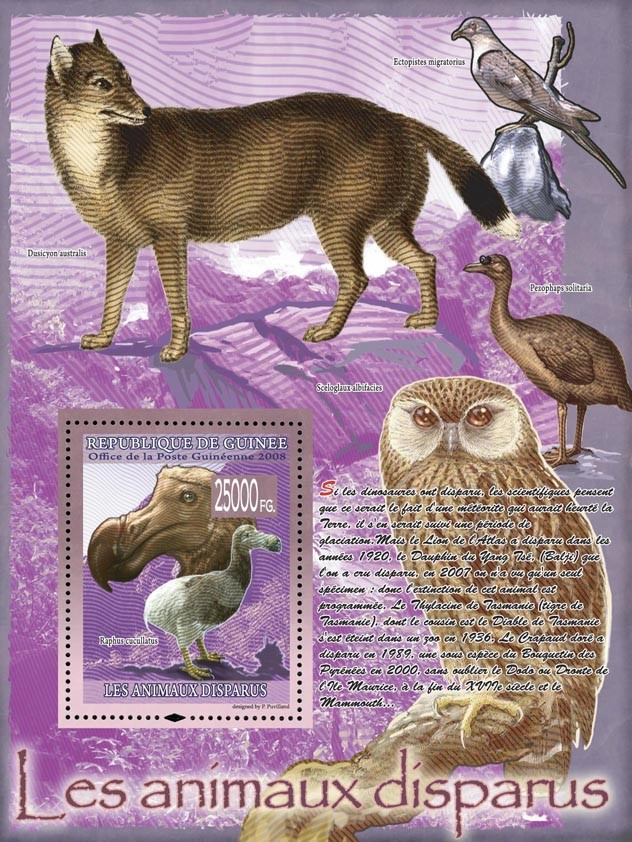Raphus cucllatus (fox, birds, owl) - Issue of Guinée postage stamps