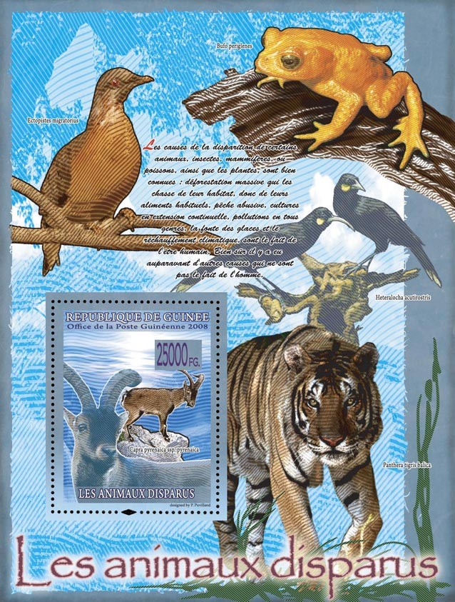 Capra pyrenaica ssp. Pyrenaica (tiger, birds, frog) - Issue of Guinée postage stamps