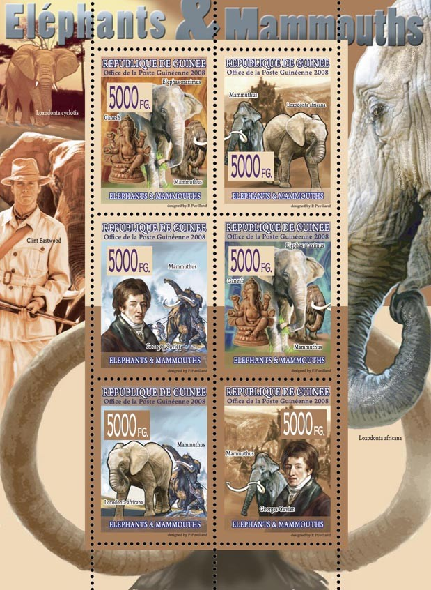 FAUNA  Elephants & Mammoths - Issue of Guinée postage stamps
