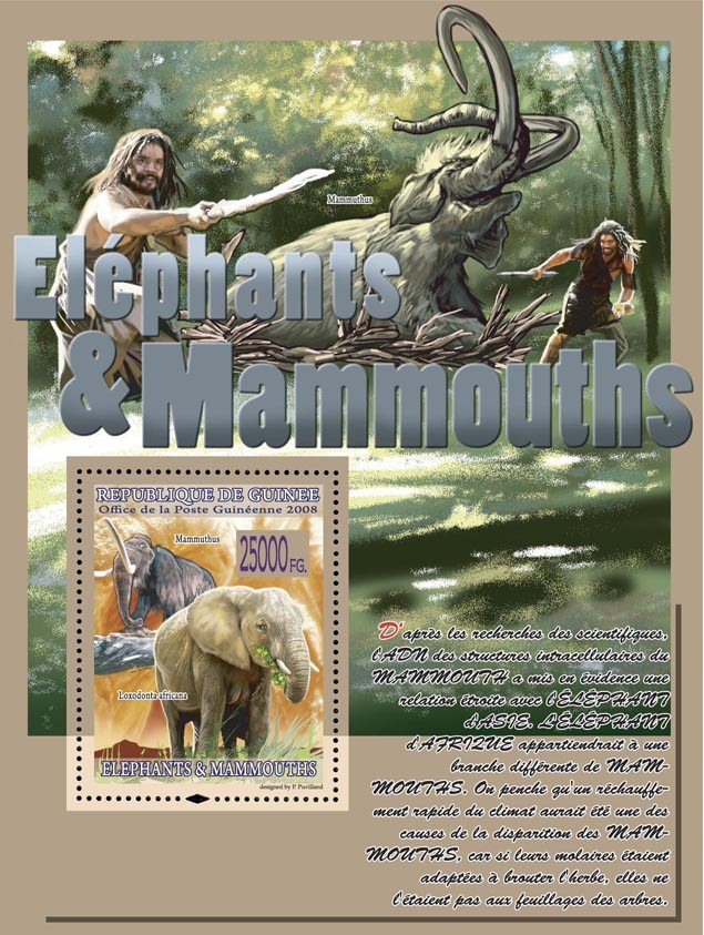 Mammuthus, Loxodonta africana - Issue of Guinée postage stamps