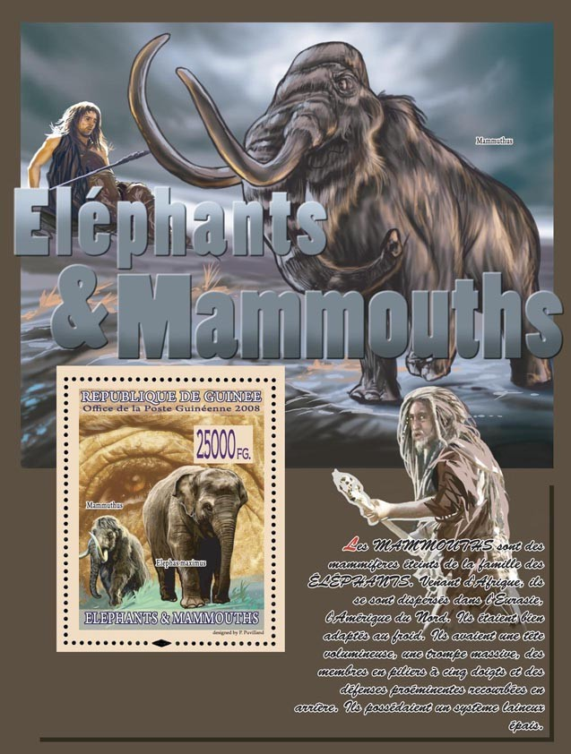 Mammuthus, Elephas maximus - Issue of Guinée postage stamps