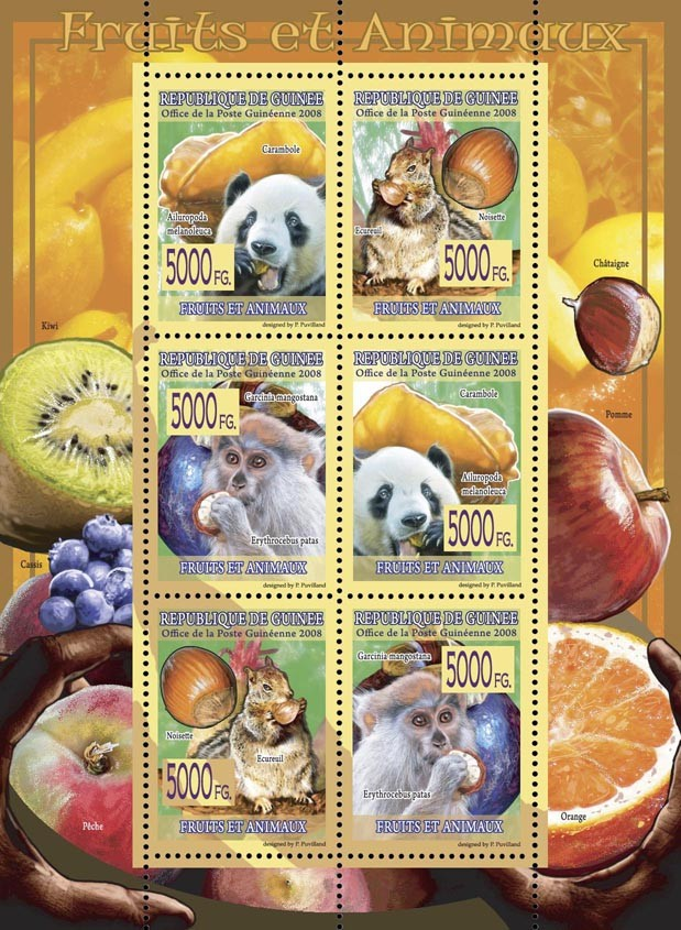 FAUNA  Fruits & Animals - Issue of Guinée postage stamps