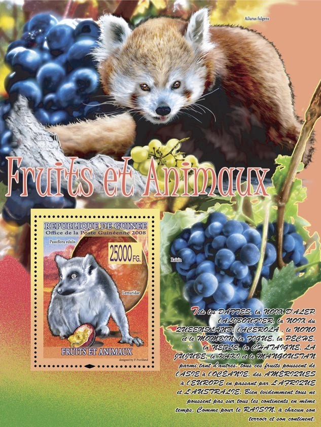 Passiflora edulis, Lemuridae (Raisin, Ailurus fulgens) - Issue of Guinée postage stamps