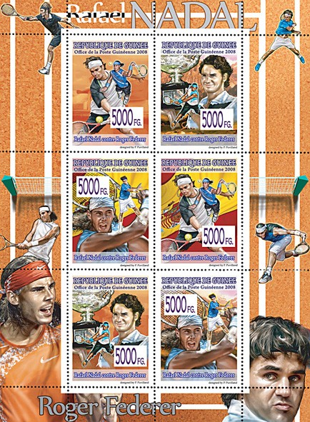 CELEBRITES  - Lawn tennis R.Federer & R.Nadal - Issue of Guinée postage stamps