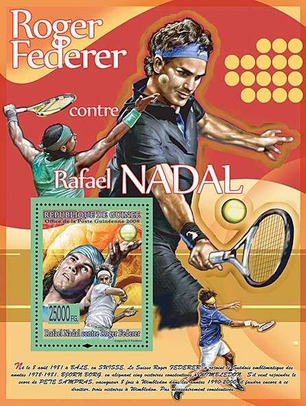 R.Federer against R.Nadal (red) - Issue of Guinée postage stamps