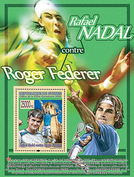 R. Nadal against R. Federer (green) - Issue of Guinée postage stamps