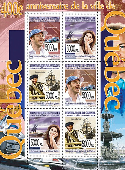 CELEBRITES - 400th  Anniversary of Quebec - Issue of Guinée postage stamps