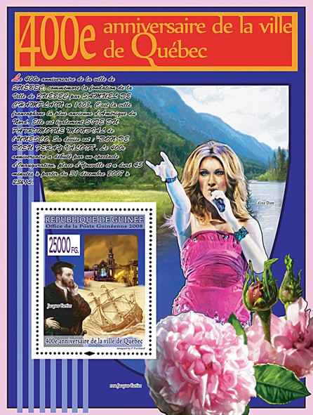 Jacques Cartier, Sailboat (Celine Dion) - Issue of Guinée postage stamps