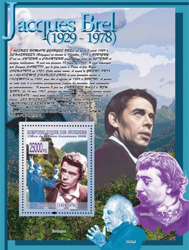 Jacques Brel (Paul Gauguin, Leo Ferre) - Issue of Guinée postage stamps