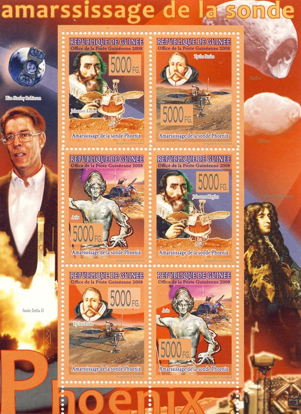 CELEBRITES  Probe Phoenix in Mars - Issue of Guinée postage stamps
