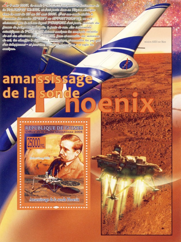 Probe Phoenix in Mars, Herbert George Wells - Issue of Guinée postage stamps