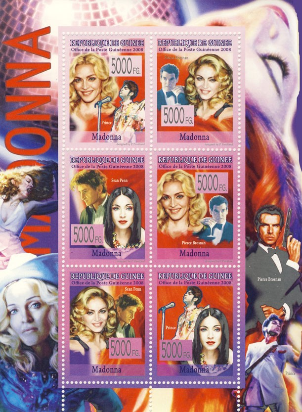 CELEBRITES  Madonna - Issue of Guinée postage stamps