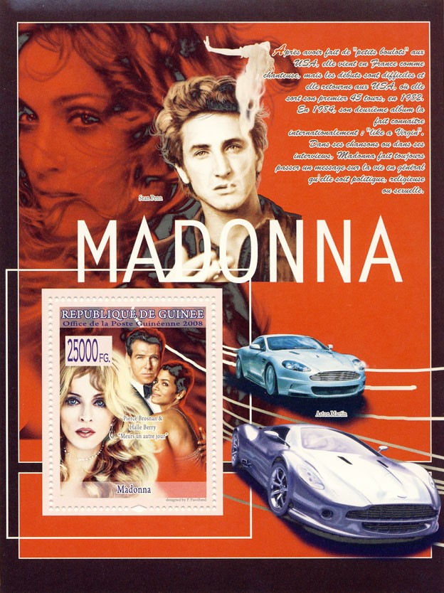 Madonna, P.Brosnan, Halle Berry (S.Penn, Cars) - Issue of Guinée postage stamps