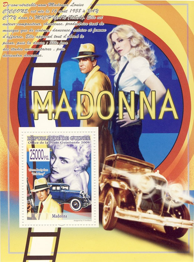 Madonna, Cars - Issue of Guinée postage stamps