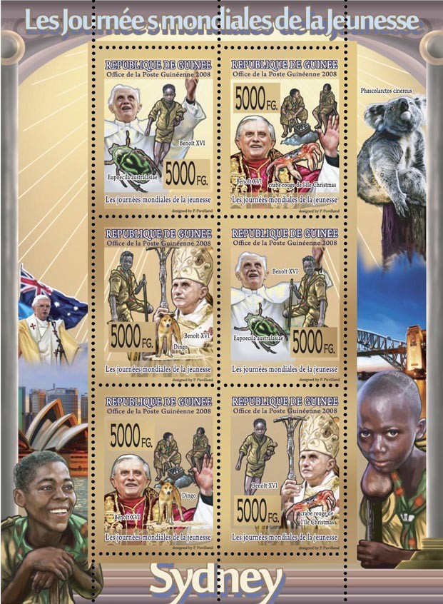 CELEBRITES   World Day of Youth (Scouts)Pope Benoit XVI, animals, scouts, insects. - Issue of Guinée postage stamps