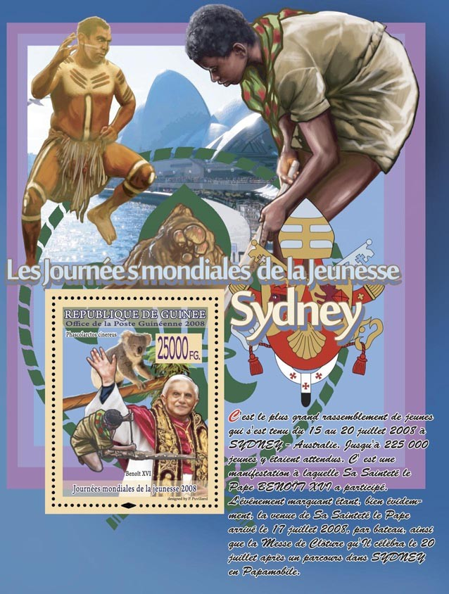 Pope Benoit XVI, animals, scouts - Issue of Guinée postage stamps