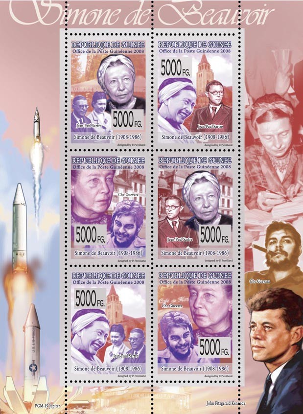 CELEBRITES  Simone de Beauvoir 1908-1986J.P.Sartre, Che Guevara. - Issue of Guinée postage stamps