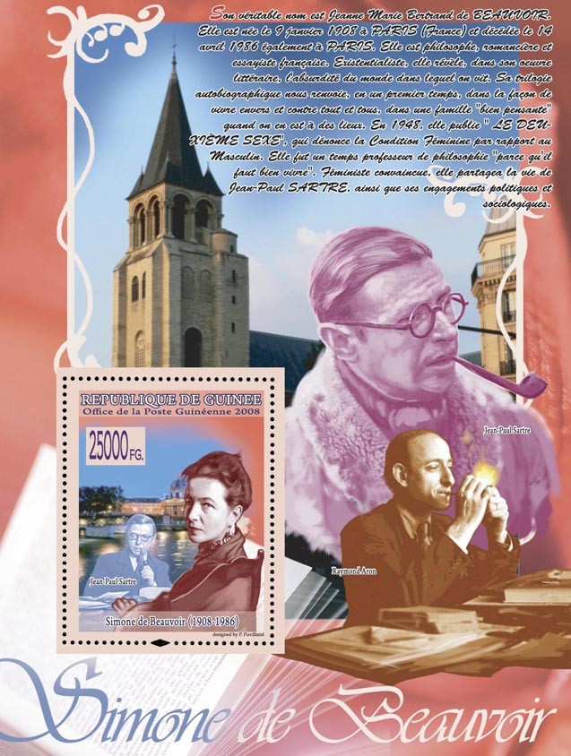 Simone de Beauvoir, J.P.Sartre (R.Aron,) - Issue of Guinée postage stamps