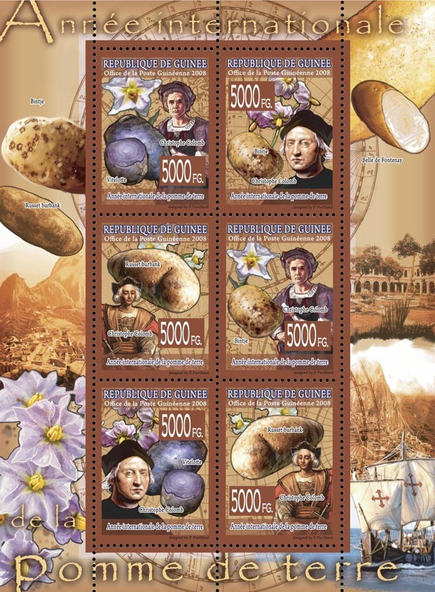 CELEBRITES  International Year of PotatoesChristofor  Columb, Ships. - Issue of Guinée postage stamps