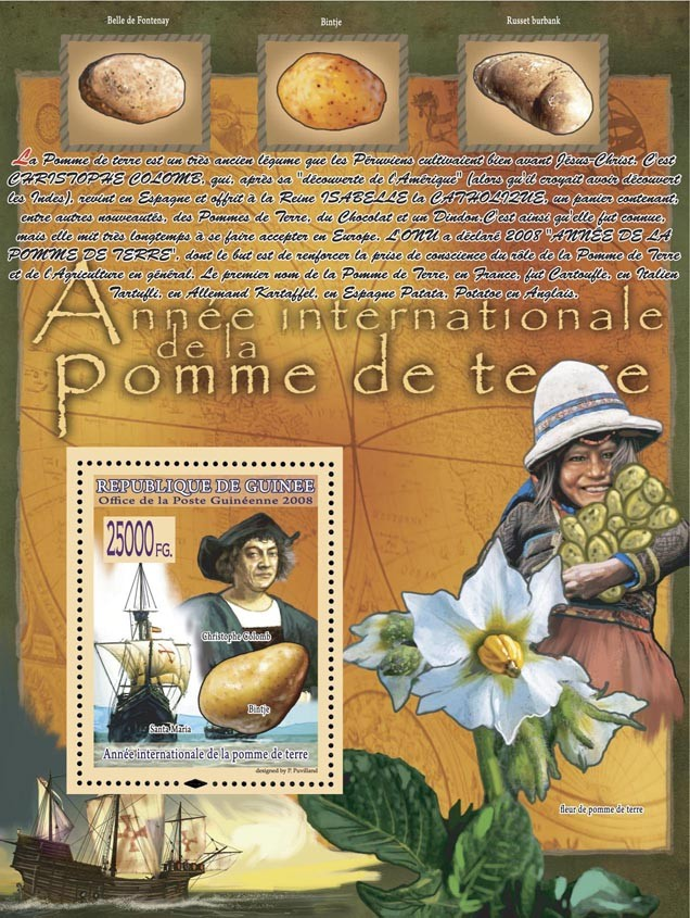 C.Colomb, Ship-Santa Maria  (Potatoes) - Issue of Guinée postage stamps