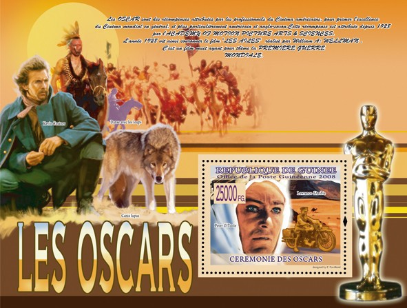 Peter O?タルTool, Motorcycle (Kevin Costner ) - Issue of Guinée postage stamps