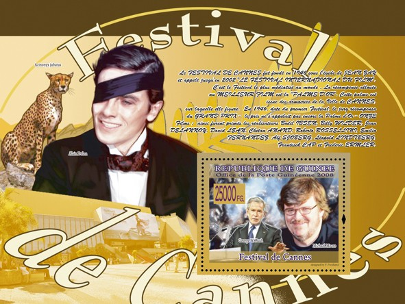 Festival of Cannes, George W.Bush Michael Moore - Issue of Guinée postage stamps