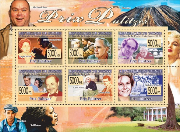 PRIZE OF PULITZER  M.Mitchell, C.McCarthy, P.Roth, T.Williams, M.Monroe, H.Lee - Issue of Guinée postage stamps