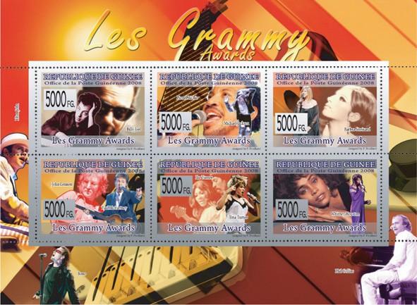GRAMMY AWARDS - B.Joil, L.Richie, M.Jackon, B.Streisand, J.Lennon, P.McCartney, Tina Turner, Whitney Houston - Issue of Guinée postage stamps