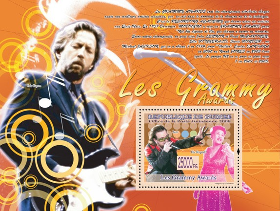 Bono, Ella Fitzgerald  ( Eric Clapton ) - Issue of Guinée postage stamps