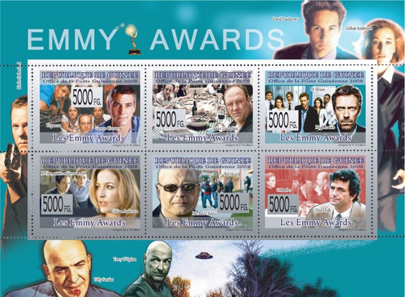 EMMY AWARDSG.Clooney, J.Gandonlfini, H.Laurie, G.Anderson, M.Chiklis, P.Falk - Issue of Guinée postage stamps