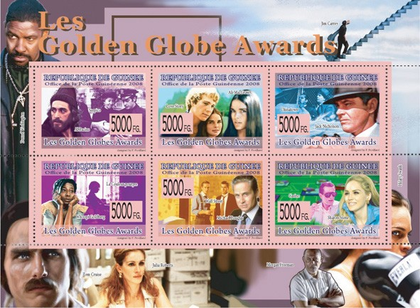 GOLDEN GLOBE AWARDSAl Pacino, A.MacGraw, J.Nicolson, W.Goldberg, M.Douglas, S.Stone - Issue of Guinée postage stamps