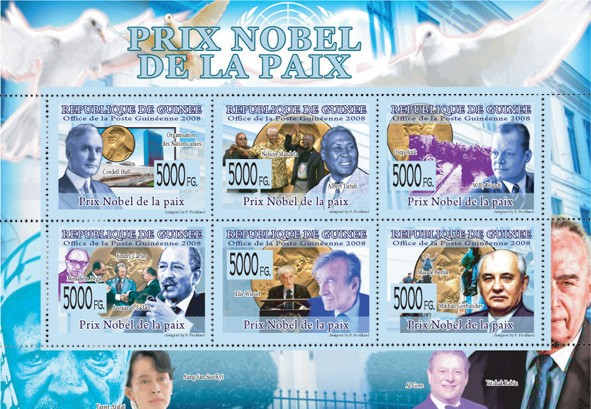 NOBEL PRIZE OF PEACE - C.Hull, N.Mandela, A.Lutulli, W.Brandt, J.Carter, E.Wiesel, M.Gorbatchev - Issue of Guinée postage stamps