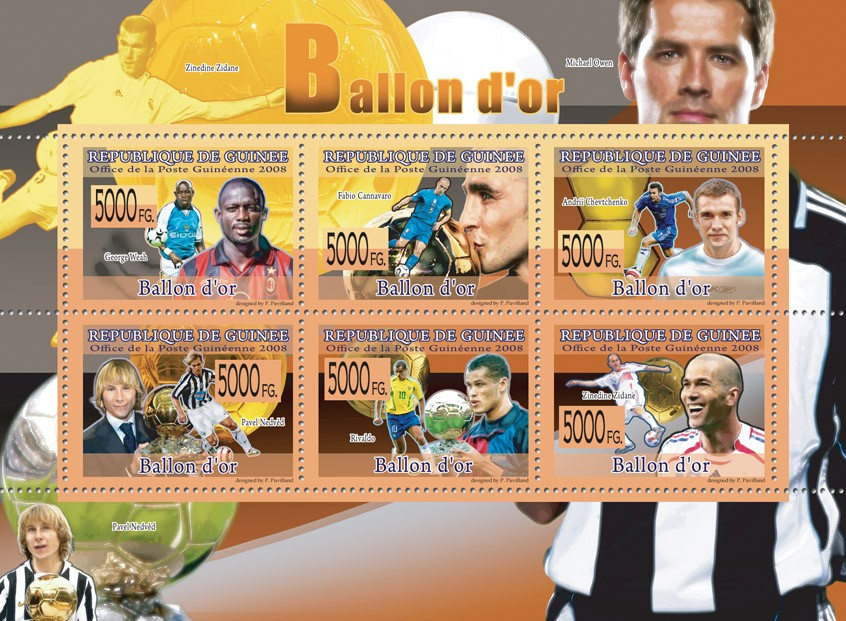 FAMOUS FOOTBALL PLAYERS G.Weah, F.Canavaro, A. Chevtchenko, P.Nedved, Rivaldo, Z.Zidane - Issue of Guinée postage stamps
