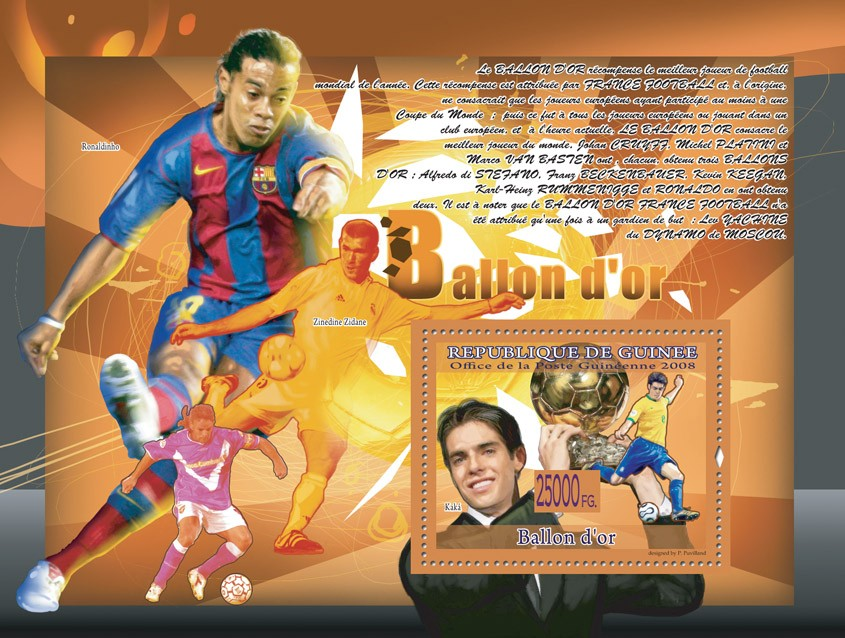 Kaka (Ronaldinho, Zinadine Zidane) - Issue of Guinée postage stamps