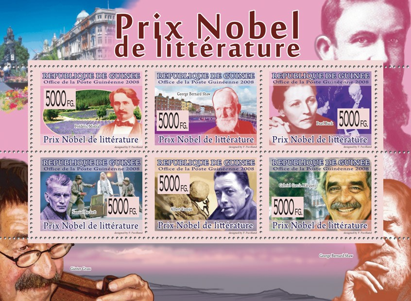 NOBEL PRIZE OF LITERATURE F.Mistral, G.B.Shaw, P.Buck, S.Beckett, A.Camus, G.G.Marquez - Issue of Guinée postage stamps
