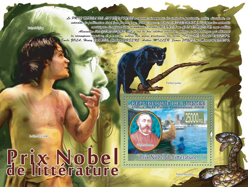 Sully Prudhomme, ship (R. Kippling, Panthera pardus, Python) - Issue of Guinée postage stamps