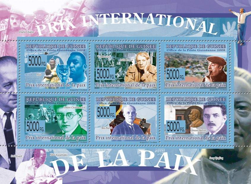 PRIZ INTERNATIONAL OF PEACE Pele, P.Picasso, P.Neruda, D.Shostakovich, B.Bartok, E.Herriot - Issue of Guinée postage stamps