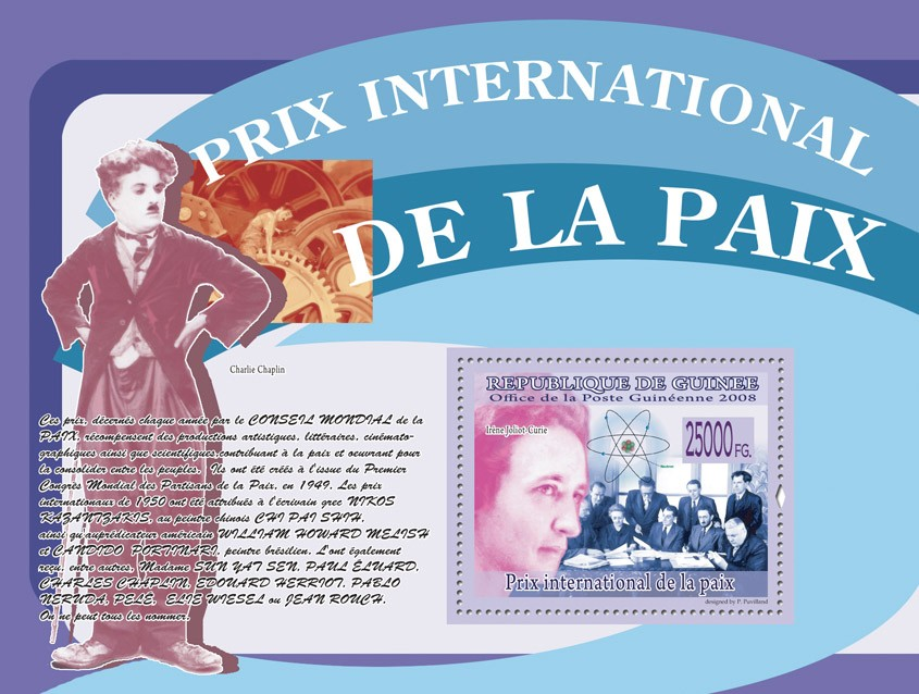 Irene Joliot Curie (Charlie chaplin) - Issue of Guinée postage stamps