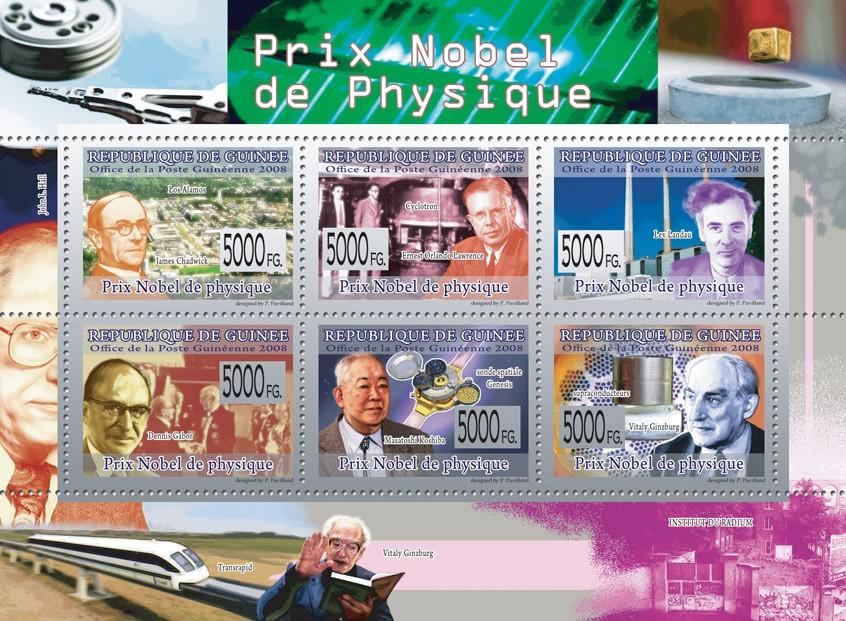 NOBEL PRIZE OF PHYSIC J.Chadwick, E.O.Lawrence, L.Landu, D.Gabor, M.Kochiba, V.Ginzburg - Issue of Guinée postage stamps