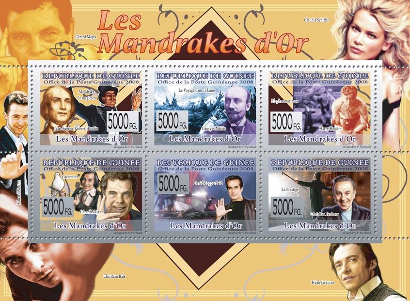 FAMOUS CIRCUS ARTISTS & ILIUSONISTES    Houdin, G.Melies, H.Houdini, G.Majax, D,Copperfield, C.Fechner - Issue of Guinée postage stamps