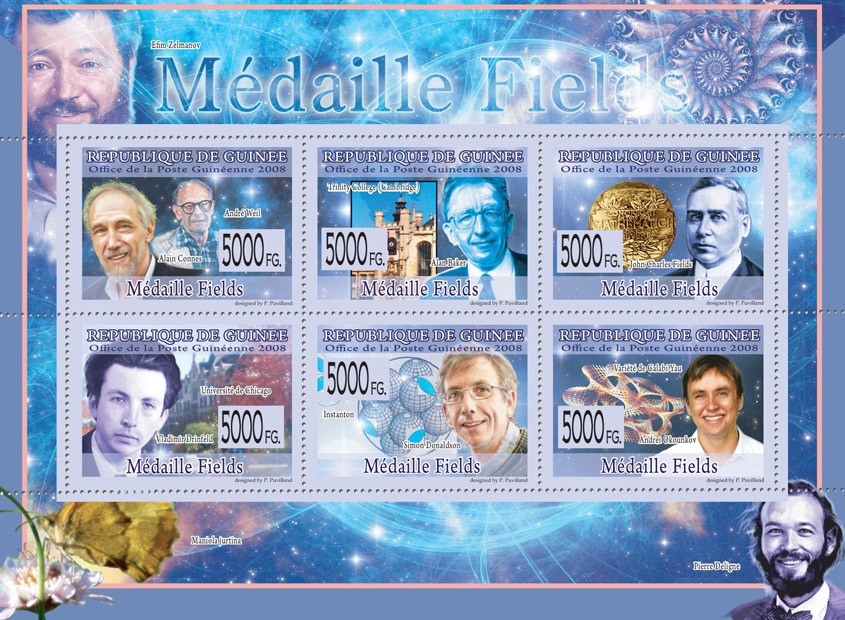 MEDAILE WINNERS   A.Weil, A.Connes, A.Beker, J.C.Fiels, V.Drinfeld, S.Donaldson, A.Okunkov - Issue of Guinée postage stamps