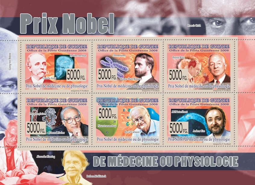 NOBEL PRIZE OF MEDICINE & PHISIOLOGIEC.Golgi, T.Hunt Morgan, P.Rous, E.Ficher, A.Carlsson, A.Fire. - Issue of Guinée postage stamps