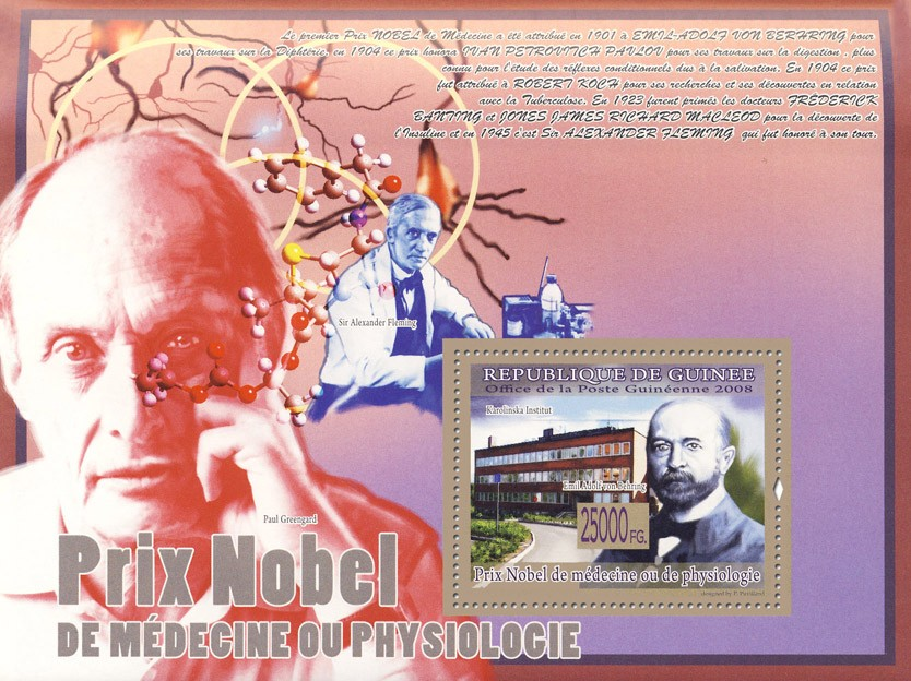 Emil Adolf von Behring, Institut Karolinska (Sir A,Fleming) - Issue of Guinée postage stamps