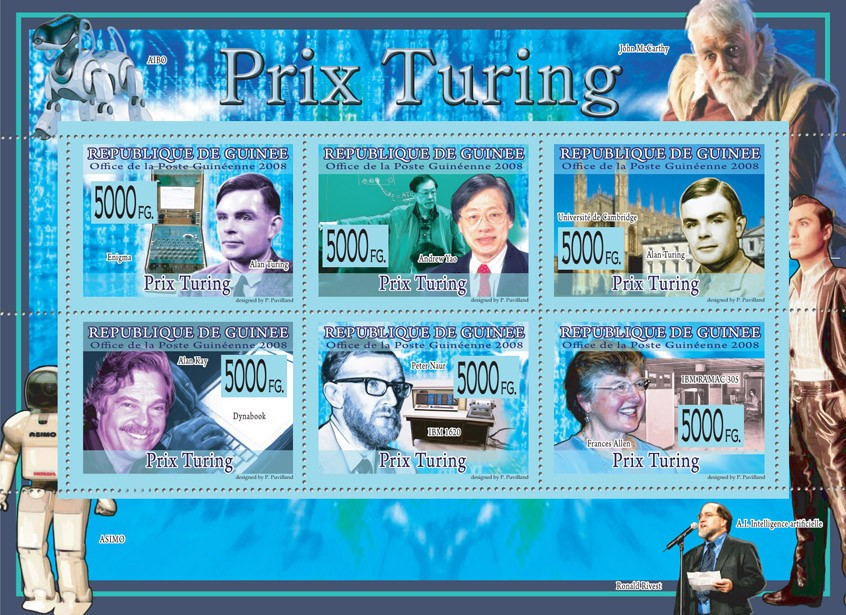 PRIZE OF TURING A.Turing, A.Yao, A,Kay, P.Naur, F.Allen. - Issue of Guinée postage stamps