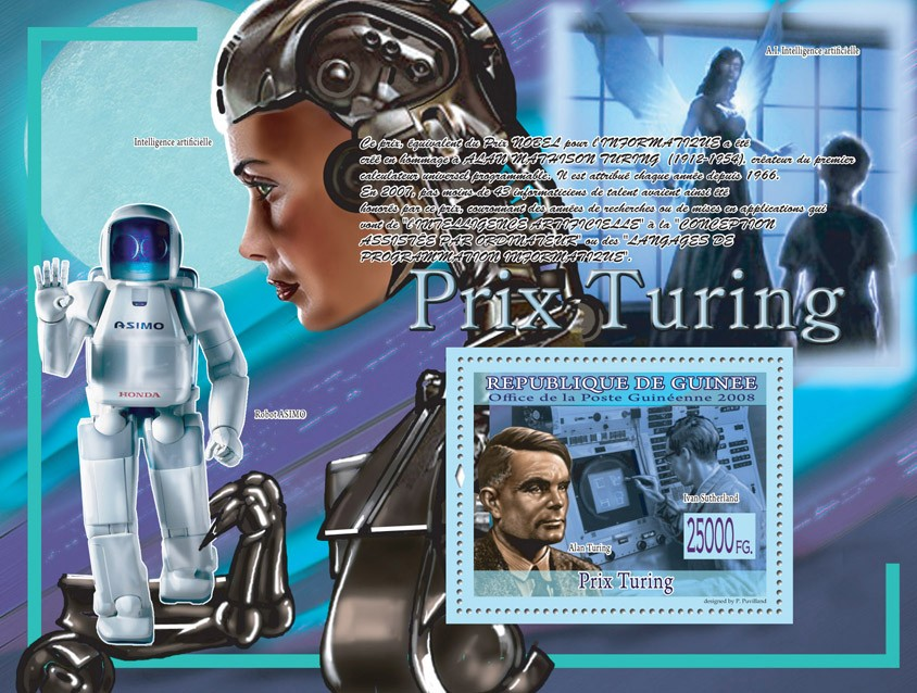 Alan Turing, Ivan Sutherland (Robot ASIMO) - Issue of Guinée postage stamps