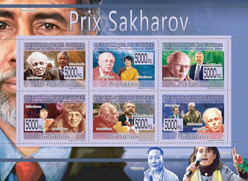 PRIZE OF SAKHAROV N.Mandela, T.Nasreen, A.Milinkevitch, A.Sakharov. - Issue of Guinée postage stamps