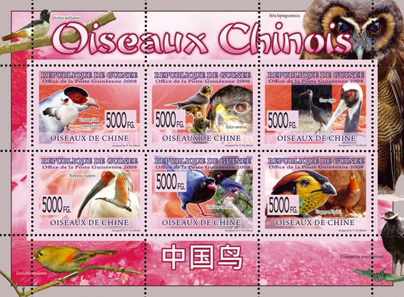 Birds of Chinese - Issue of Guinée postage stamps