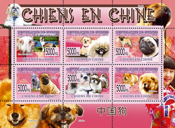 Dogs of Chinese - Issue of Guinée postage stamps