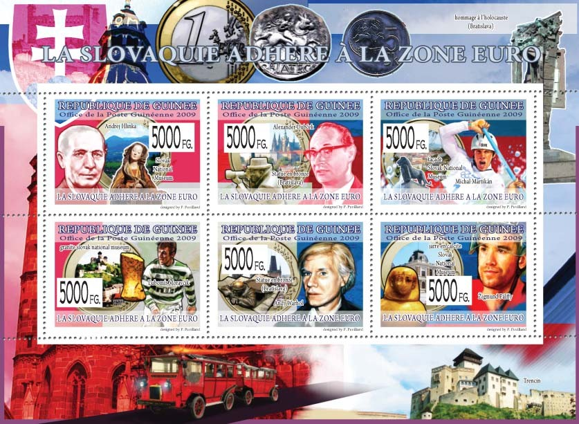 Slovakia?タルs Ascension to the Euro zone ( Celebrities of Slovakia ) - Issue of Guinée postage stamps