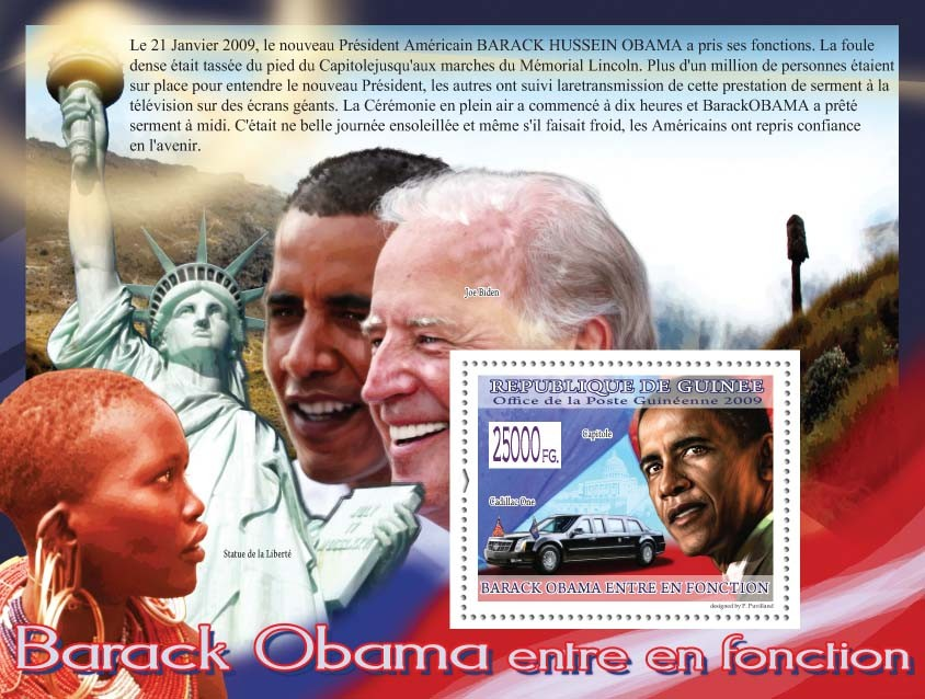 Cadillac One, Capitol ( Joe Biden, Statue of Freedom ) - Issue of Guinée postage stamps